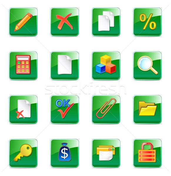 Www boekhouder iconen geïsoleerd witte computer Stockfoto © arlatis