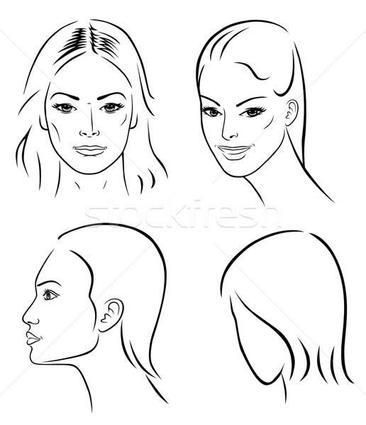 Cztery kobieta twarze odizolowany biały Zdjęcia stock © arlatis