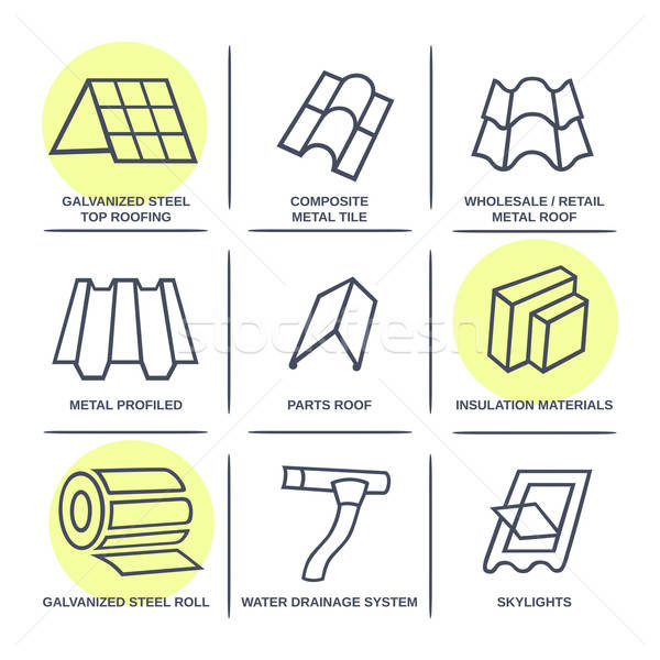 Sale buildings materials (roof, facade) site icons infographics  Stock photo © arlatis