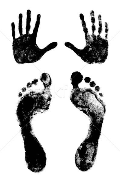 Stok fotoğraf: Iki · ayak · izleri · el · yalıtılmış · beyaz · palmiye