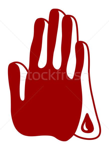 Modląc krwawy ręce odizolowany biały ilustrator Zdjęcia stock © arlatis