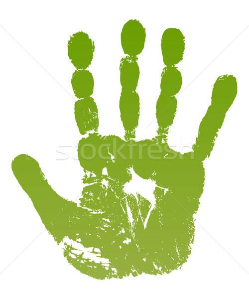 Old man green hand print Stock photo © arlatis