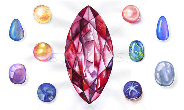 Watercolor gems set Stock photo © arlatis