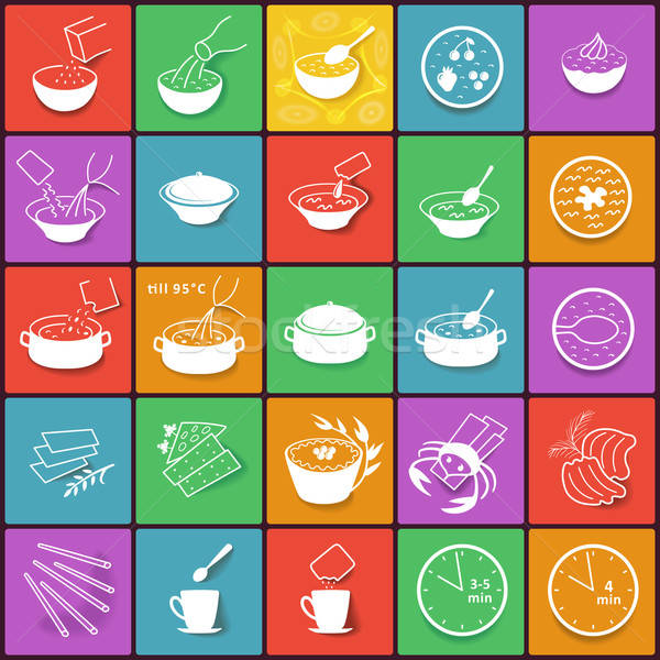 Flat fast food packaging cooking process icons set  Stock photo © arlatis