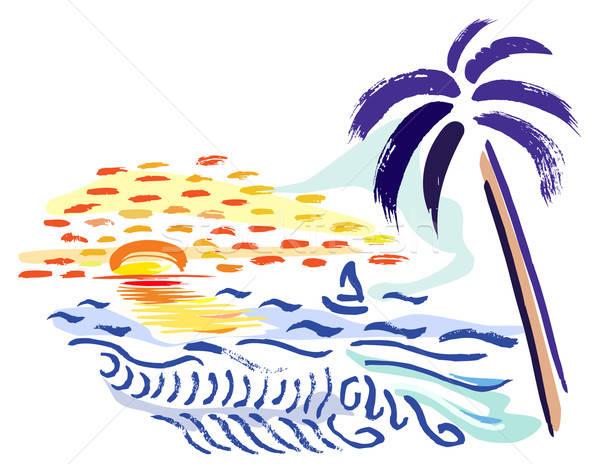 Palma tropical pôr do sol mar livre estilo Foto stock © arlatis