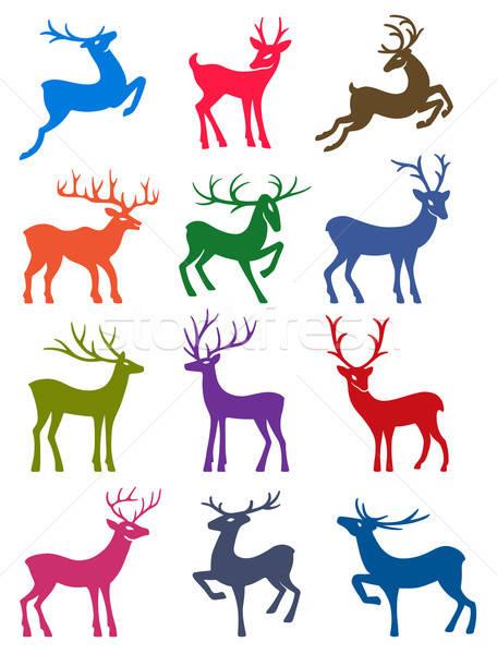 Twelve colored deer vector silhouettes Stock photo © arlatis