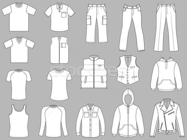 Man clothes collection isolated on white  Stock photo © arlatis
