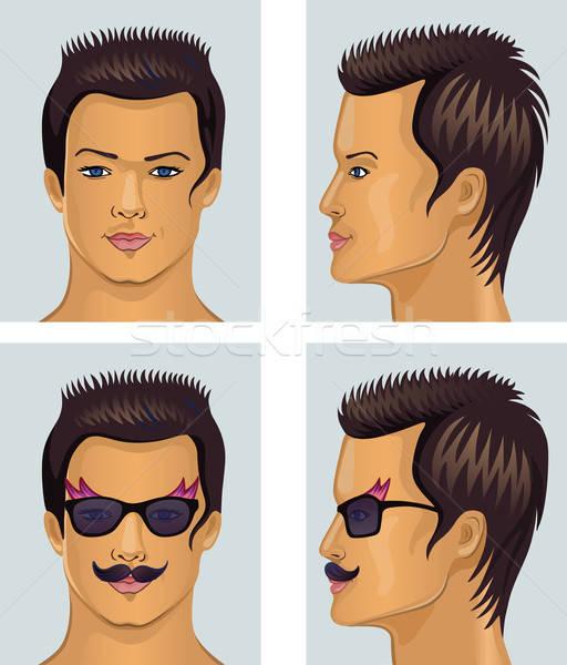 Głowie wąsy okulary front strona człowiek Zdjęcia stock © arlatis