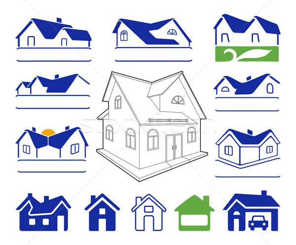 Binalar işaretleri logo ayarlamak mavi yeşil Stok fotoğraf © arlatis