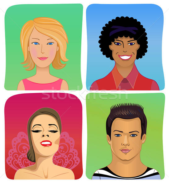 Man woman profile avatar vector set Stock photo © arlatis