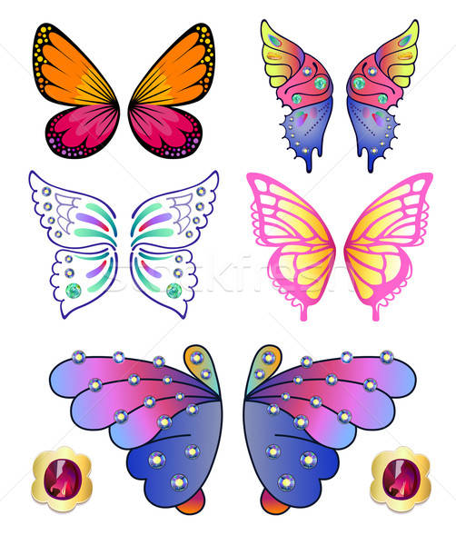 Butterflies colored gem wings set Stock photo © arlatis