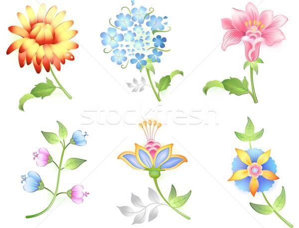 çiçek ayarlamak yalıtılmış beyaz vektör Stok fotoğraf © arlatis
