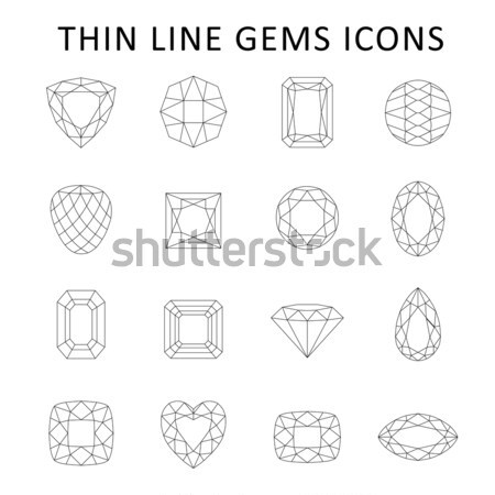 Low poly colored & black outline template gems cuts Stock photo © arlatis