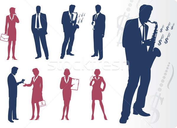 ビジネスマン 実業 シルエット お金 男性 スーツ ストックフォト © arlatis