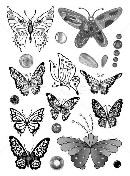 Monokróm pillangók szett drágakő tetoválás izolált Stock fotó © arlatis