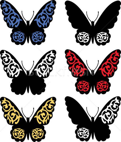 ストックフォト: 蝶 · 芸術的 · パターン · 抽象的な · 青 · 黒