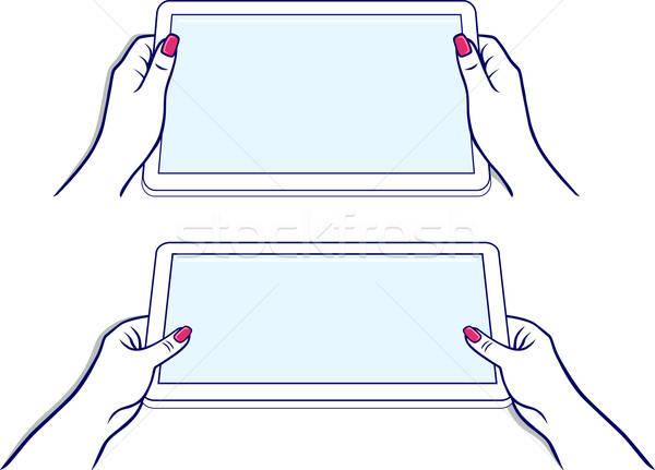 Ręce tabletka urządzenie odizolowany biały komputera Zdjęcia stock © arlatis