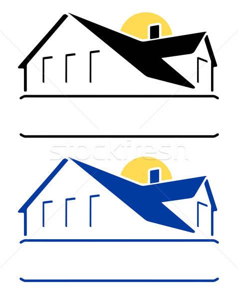 Domu podpisania słońce odizolowany biały okno Zdjęcia stock © arlatis