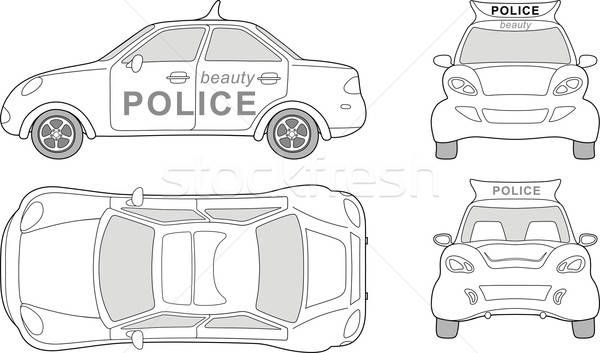 Beauty police car (outlined top, side, back, front view)  Stock photo © arlatis