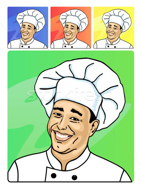 Uśmiechnięta twarz gotować zdrowia restauracji tablicy hat Zdjęcia stock © arlatis