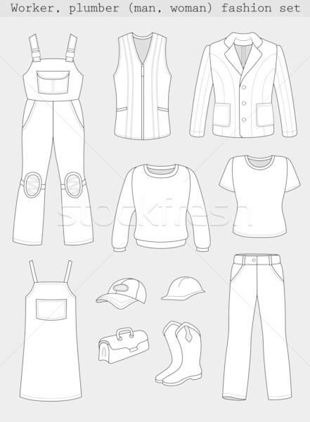 ワーカー 配管 男 女性 ファッション セット ストックフォト © arlatis