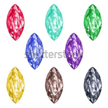 Gyémántok izolált fehér szett nyolc háttér Stock fotó © arlatis