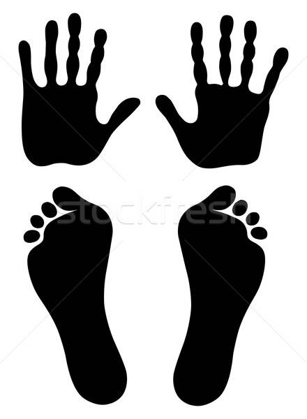 Old man hand and foot prints Stock photo © arlatis