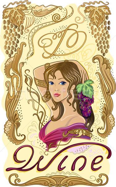 装飾された ワイン ラベル ブドウ 少女 食品 ストックフォト © arlatis