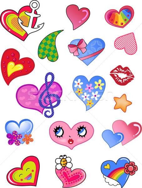 Stock photo: A set of comic hearts