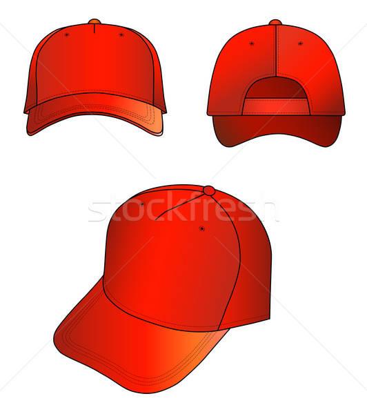 ストックフォト: 赤 · キャップ · 孤立した · 白 · デザイン · 背景