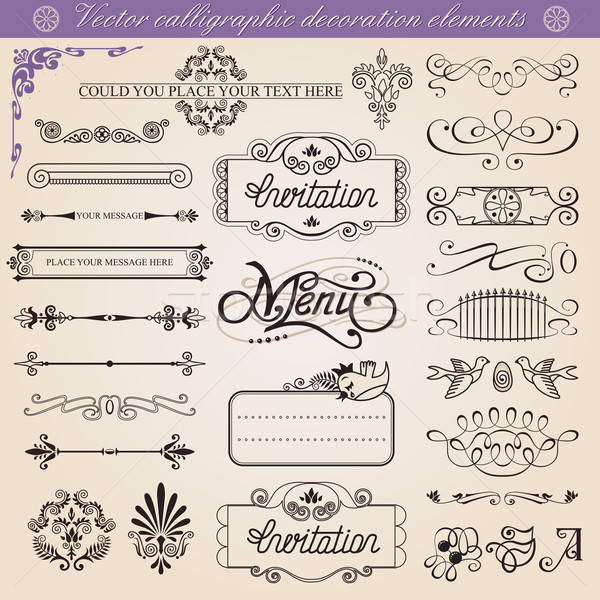 Stock photo: Vector calligraphic decoration elements set