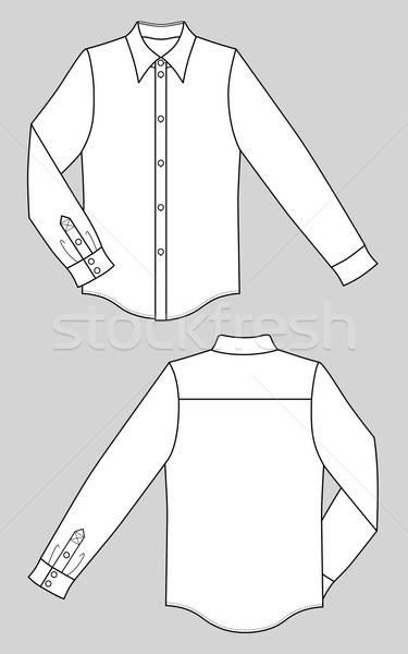 Outline black-white shirt vector illustration isolated on grey Stock photo © arlatis
