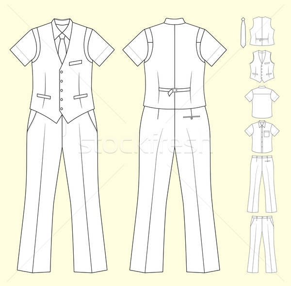 Stock Vector Illustration: The suit of the cashier or seller (waistcoat, shirt, tie, trousers) isola Stock photo © arlatis