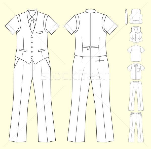 Stok takım elbise kasiyer yelek gömlek Stok fotoğraf © arlatis