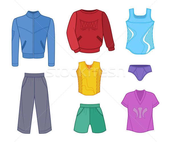 Man set tricot clothes colored Stock photo © arlatis