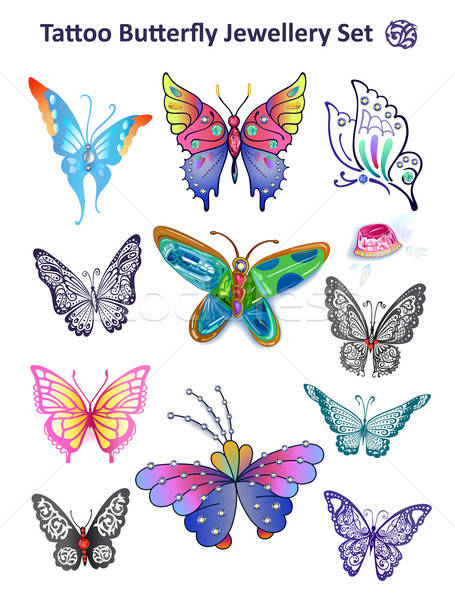Tetoválás pillangó ékszerek szett nyomtatott ruha Stock fotó © arlatis
