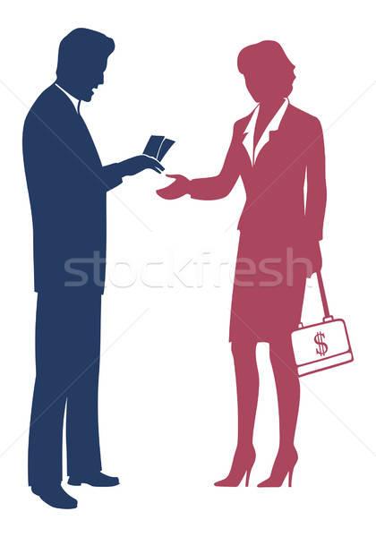 Biznesmen ceny kobiet mężczyzn garnitur zespołu Zdjęcia stock © arlatis