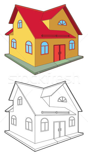 Domek kolorowy odizolowany biały budynku miasta Zdjęcia stock © arlatis