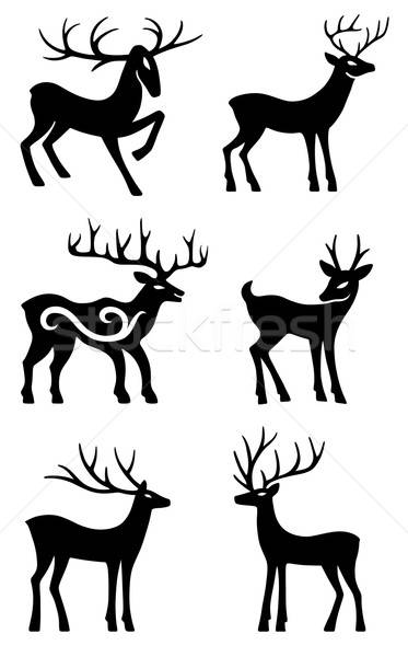 Photo stock: Six · cerfs · permanent · vecteur · silhouettes