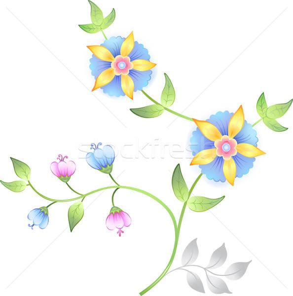 Kwiatowy elementy zestaw odizolowany biały Zdjęcia stock © arlatis