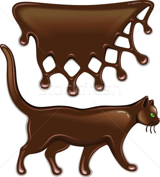 Schokolade Dekor Katze isoliert weiß Essen Stock foto © arlatis