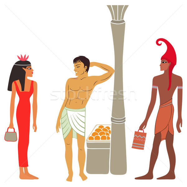 Ancient Egyptian-Greek market negotiations Stock photo © arlatis