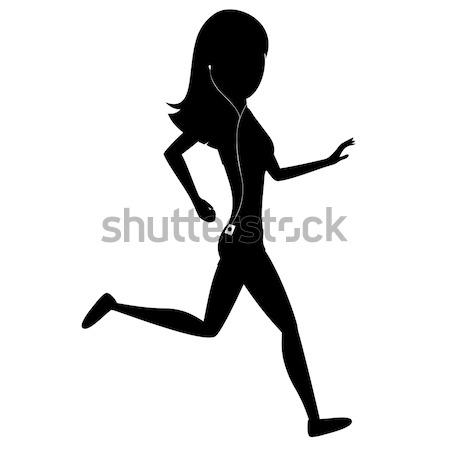 Uruchomiony dziewczyna sylwetka dość czarno białe muzyki Zdjęcia stock © arleevector