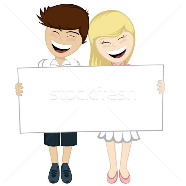 Glücklich Paar lächelnd braun Junge Stock foto © arleevector