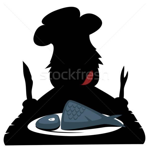 Paleo chef silhueta faminto comer fresco Foto stock © arleevector