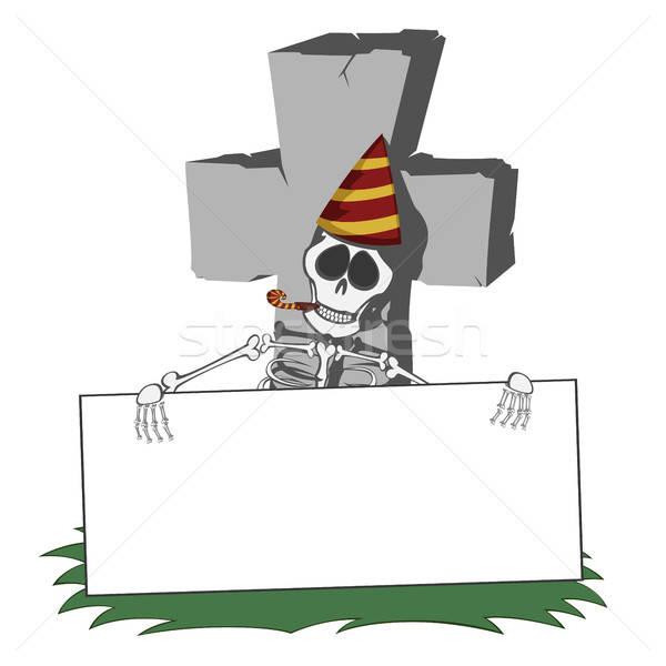 Grafsteen grijs grafsteen gras skelet Stockfoto © arleevector