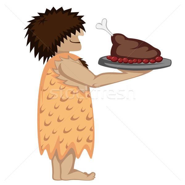 Paleo cameriere vassoio alimentare cartoon stile Foto d'archivio © arleevector