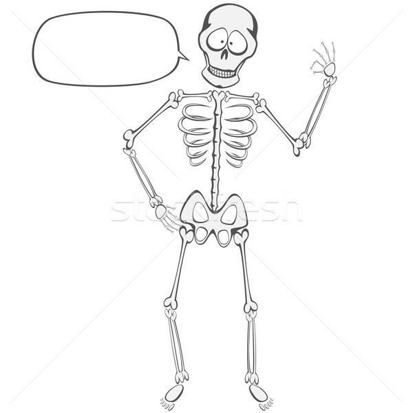 Esqueleto engraçado em pé Foto stock © arleevector