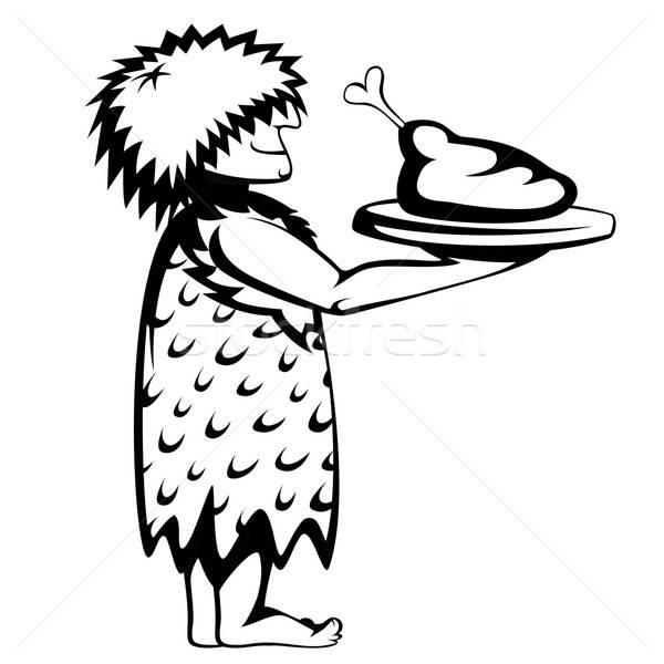 Paleo garçom silhueta bandeja comida desenho animado Foto stock © arleevector