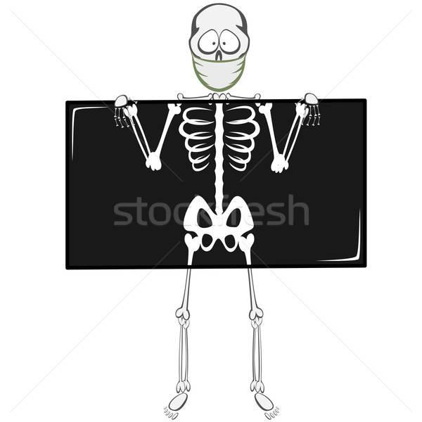 Esqueleto engraçado médico máscara Foto stock © arleevector